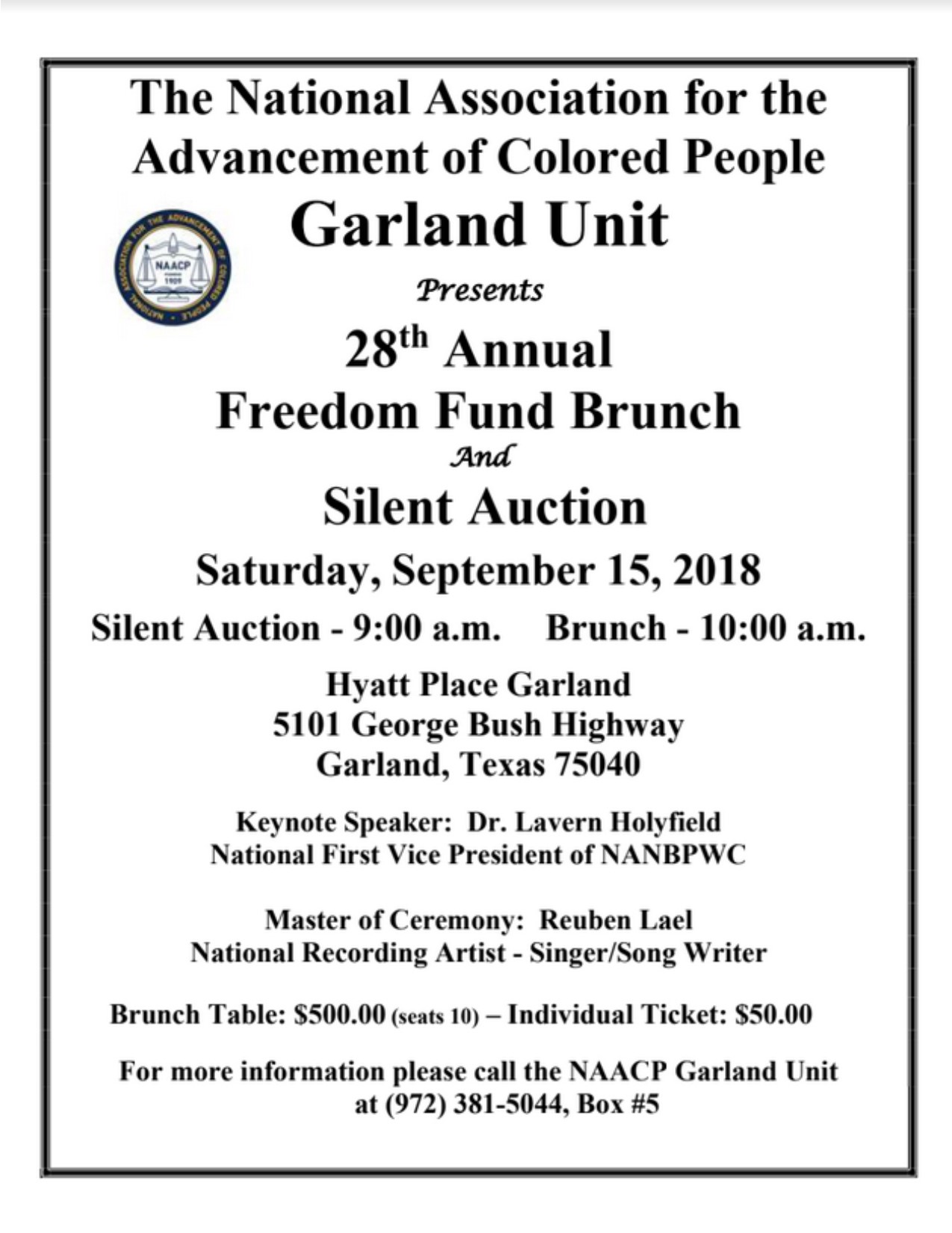 NAACP GARLAND UNIT'S FREEDOM FUND BRUNCH AND SILENT AUCTION