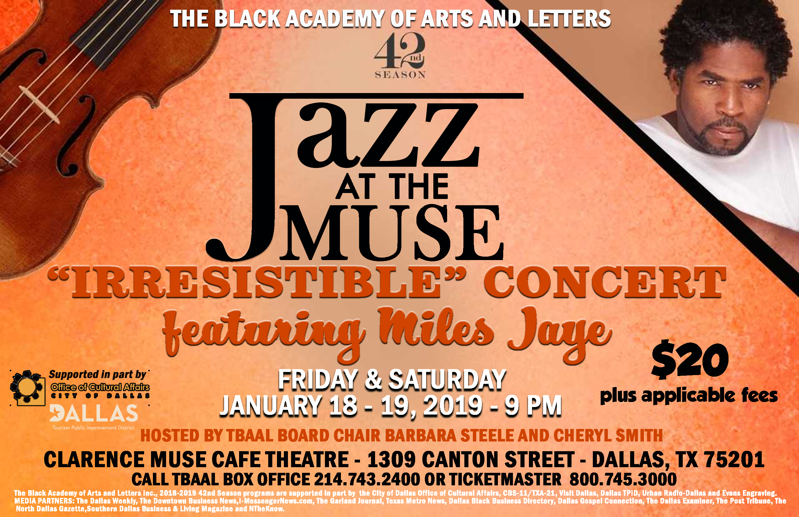 TBAAL Presents Jazz at the Muse: January 18 & 19, 2019