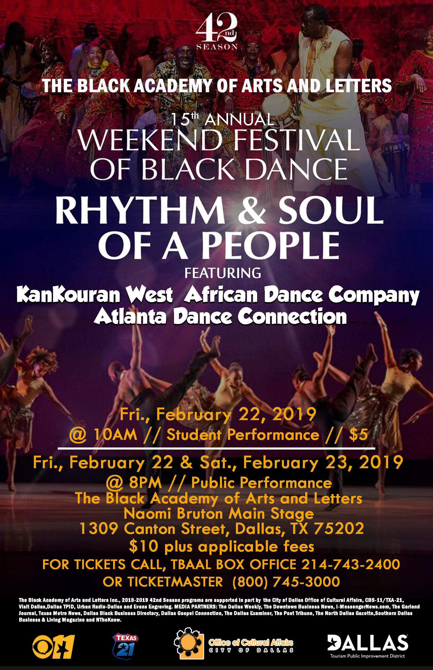15TH ANNUAL WEEKEND FESTIVAL OF BLACK DANCE: FEBRUARY 22, 2019