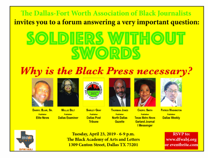 Soldiers Without Swords: Why is the Black Press Necessary: April 23, 2019