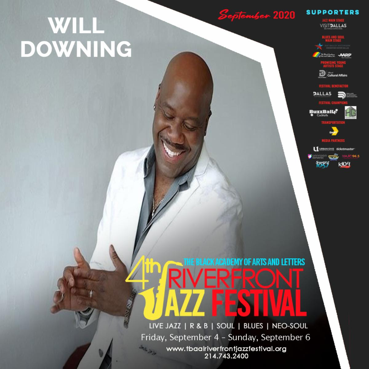 TBAAL's 4th Annual Riverfront Jazz Festival: 9/4-9/6/2020