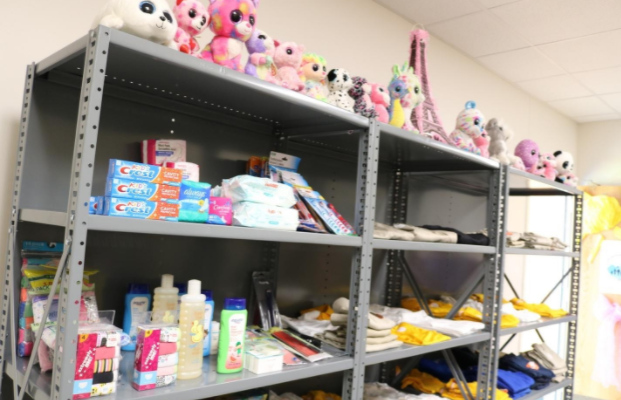 Items in the Closet for Care at Eddie Bernice Johnson Elementary School