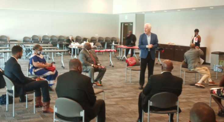 Sen John Cornyn discussed his position on issues while visiting with several African Americans in Dallas on Labor Day, at the invitation of former Dallas ISD board trustee Ron Price and Elite News publisher Darryl Blair.