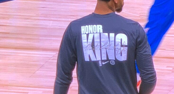 All NBA players, including the Dallas Mavericks are wearing shooting jerseys and T-shirts this weekend honoring Dr. Martin Luther King, Jr.